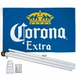 Corona Extra Blue 3' x 5' Polyester Flag, Pole and Mount