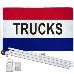 Trucks Patriotic 3' x 5' Polyester Flag, Pole and Mount