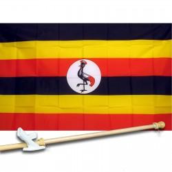 UGANDA COUNTRY 3' x 5'  Flag, Pole And Mount.