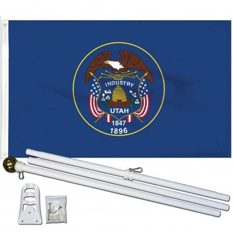UTAH 3' x 5'  Flag, Pole And Mount.
