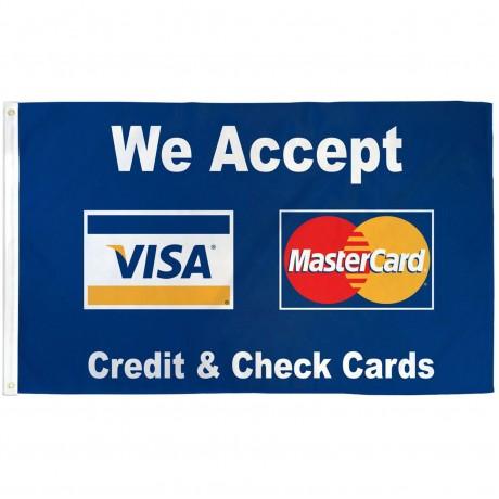 We Accept Visa & Mastercard 3' x 5' Polyester Flag