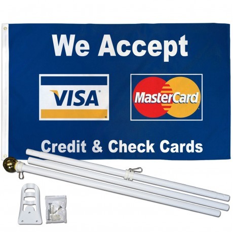 We Accept Visa & Mastercard 3' x 5' Polyester Flag, Pole and Mount