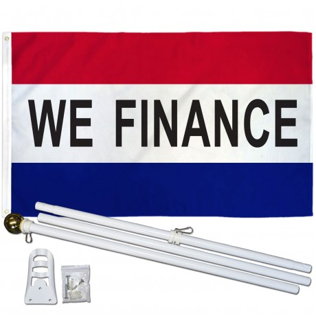 We Finance Patriotic 3' x 5' Polyester Flag, Pole and Mount