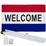 Welcome Patriotic 3' x 5' Polyester Flag, Pole and Mount
