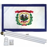West Virginia State 3' x 5' Polyester Flag, Pole and Mount