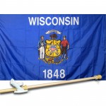 WISCONSIN 3' x 5'  Flag, Pole And Mount.