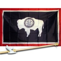 WYOMING 3' x 5'  Flag, Pole And Mount.