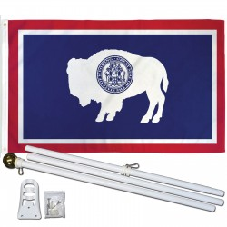 Wyoming State 3' x 5' Polyester Flag, Pole and Mount