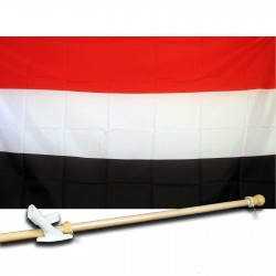 YEMEN COUNTRY 3' x 5'  Flag, Pole And Mount.