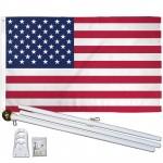 USA American 2' x 3' Polyester Flag, Pole and Mount