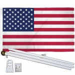 USA American 3' x 5' Polyester Flag, Pole and Mount