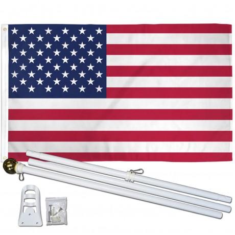 USA American 3' x 5' Polyester Flag, Pole and Mount