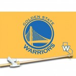 GOLDEN STATE WARRIORS YELLOW BLUE 3' x 5'  Flag, Pole And Mount.