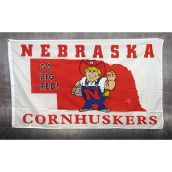 Nebraska Huskers White 3'x 5' Flag