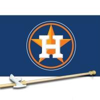 HOUSTON ASTROS 3' x 5'  Flag, Pole And Mount.