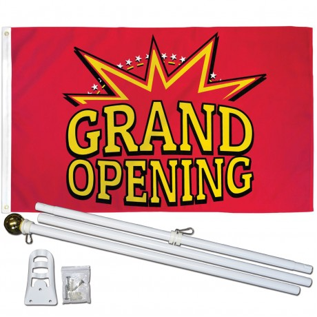 GRAND OPENING RED 3' x 5'  Flag, Pole And Mount.