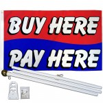 BUY HERE PAY HERE BL/RD 3' x 5'  Flag, Pole And Mount.