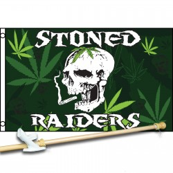 Stoned Raiders 3' x 5' Polyester Flag, Pole and Mount