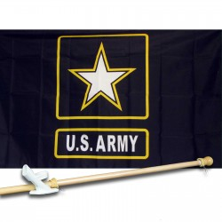 ARMY BLACK STAR (U.S.ARMY) 2' X 3'  Flag, Pole And Mount.