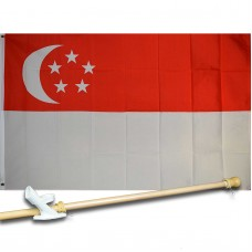 SINGAPORE COUNTRY 3' x 5'  Flag, Pole And Mount.