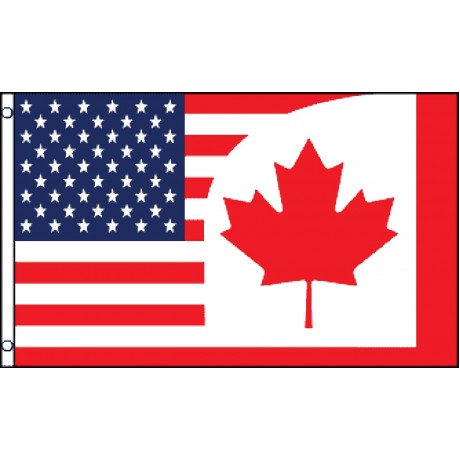 USA Canada Red Leaf 3' x 5' Polyester