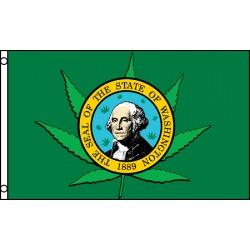 WASHINGTON / MARAJUANA STATE FLAG 3' X 5' POLY FLAG