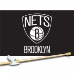 Brooklyn Nets 3' x 5'  Flag, Pole And Mount.