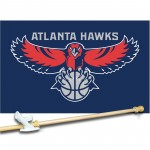 AtlAntA HAwks 3' x 5'  Flag, Pole And Mount.