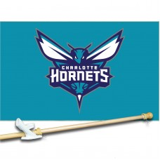 Charlotte Hornets 3' x 5'  Flag, Pole And Mount.