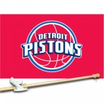 Detroit Pistons 3' x 5'  Flag, Pole And Mount.