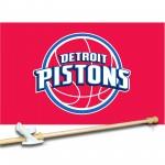 Detroit Pistons 3' x 5'  Flag, Pole And Mount.