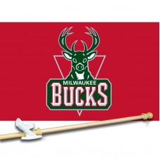 Milwaukee Bucks 3' x 5'  Flag, Pole And Mount.