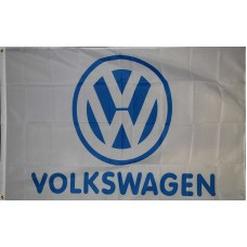 Volkswagen White with Blue Logo 3x5 Flag
