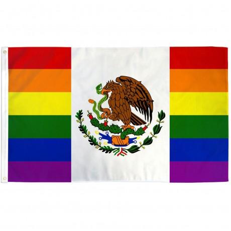 Mexico Pride Rainbow 3' x 5' Polyester Flag