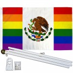 Mexico Pride Rainbow 3' x 5' Polyester Flag, Pole and Mount