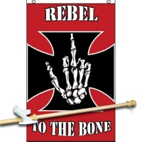 REBEL TO THE BONE 3' x 5'  Flag, Pole And Mount.