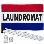 Laundromat Patriotic 3' x 5' Polyester Flag, Pole and Mount