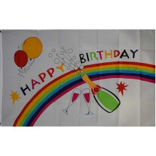 Happy Birthday Rainbow Party Polyester 3' x 5' Flag