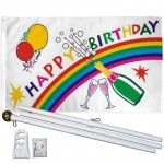 Happy Birthday Rainbow 3' x 5' Flag, Pole and Mount