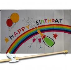 Happy Birthday Rainbow 3' x 5' Flag, Pole and Mount