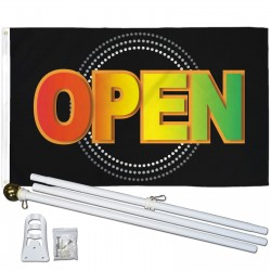 Open Neon 3' x 5' Polyester Flag, Pole and Mount