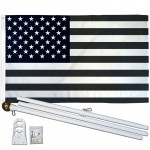 USA Black and White 3' x 5' Polyester Flag, Pole and Mount