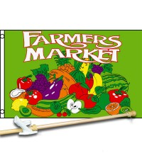 Farmers Market Green 3' x 5'  Flag, Pole And Mount