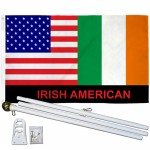 Irish American 3' x 5' Polyester Flag, Pole and Mount