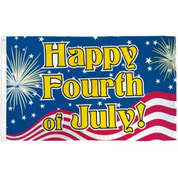 Happy 4th of July Patriotic 3' x 5' Polyester Flag
