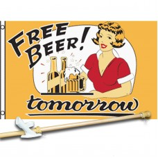Free Beer Tomorrow vintage 3'x 5' polyester Flag, pole and mount