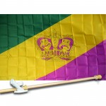 MARDI GRAS CROWN 3' x 5'  Flag, Pole And Mount.