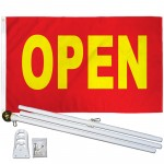 OPEN RED 3' x 5'  Flag, Pole And Mount.
