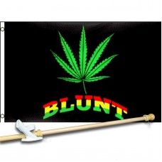Blunt Marijuana with Leaf 3' x 5' Polyester Flag, Pole and Mount