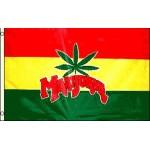 Marijuana Leaf Rasta 3' x 5' Polyester Flag